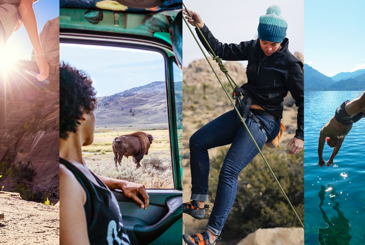 Four images: someone hiking; a person looking out a car window at a bison; a person rockclimbing; a person diving into clear waters
