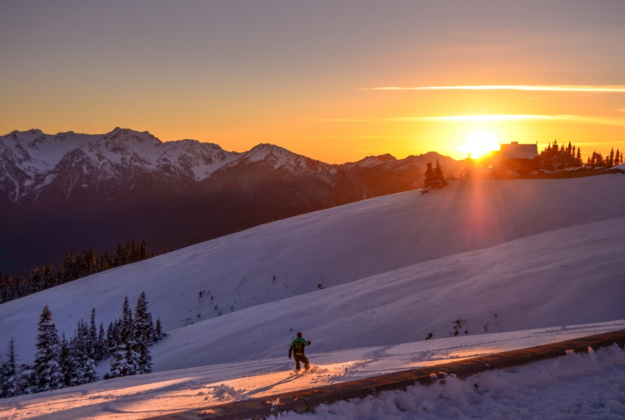 Snowboarder on Hurricane Ridge at Olympic National Park