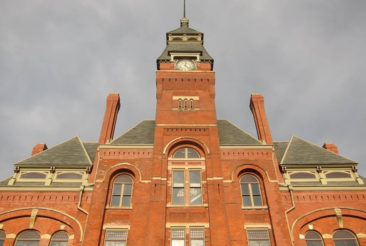 The red brick facade of Pullman's Clock Tower Building