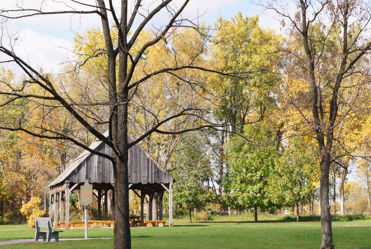A view of the Pavilion on the Battlefield in the fall