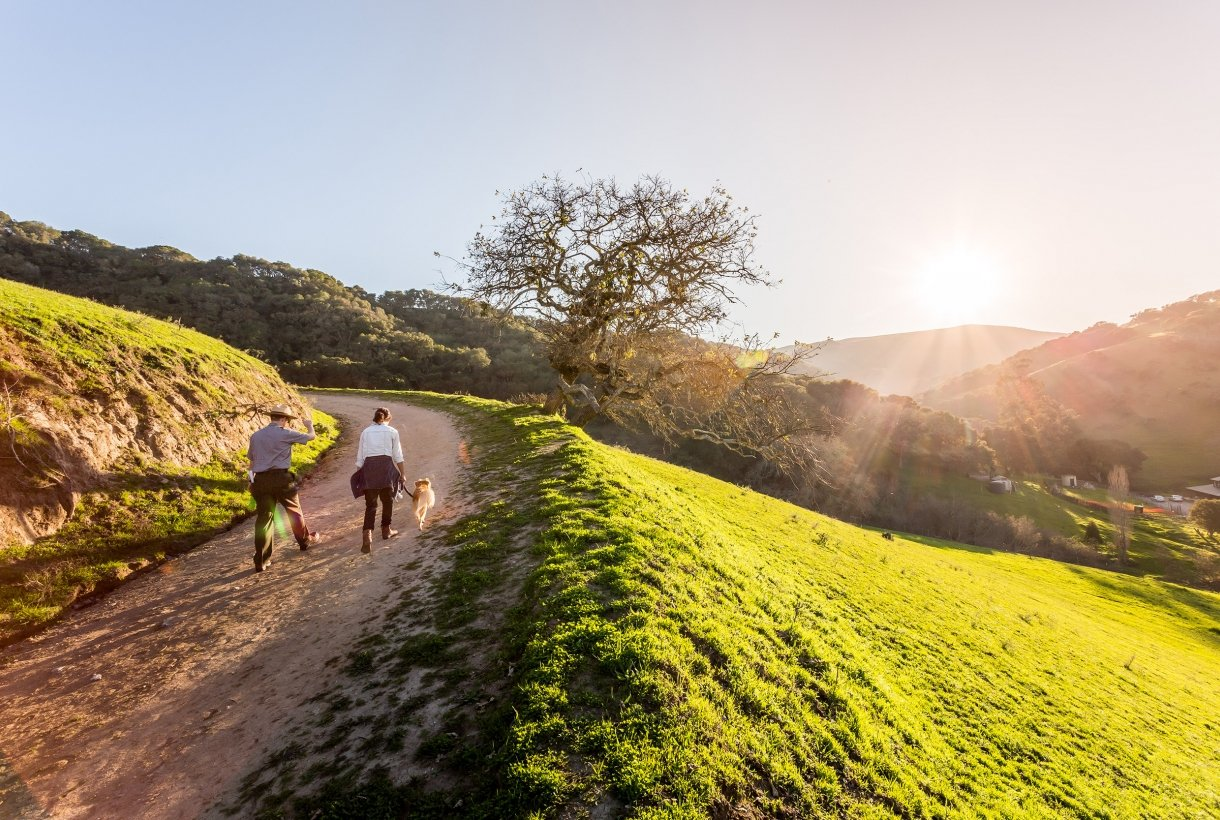park ranger, woman, and dog hiking on a trail at sunset