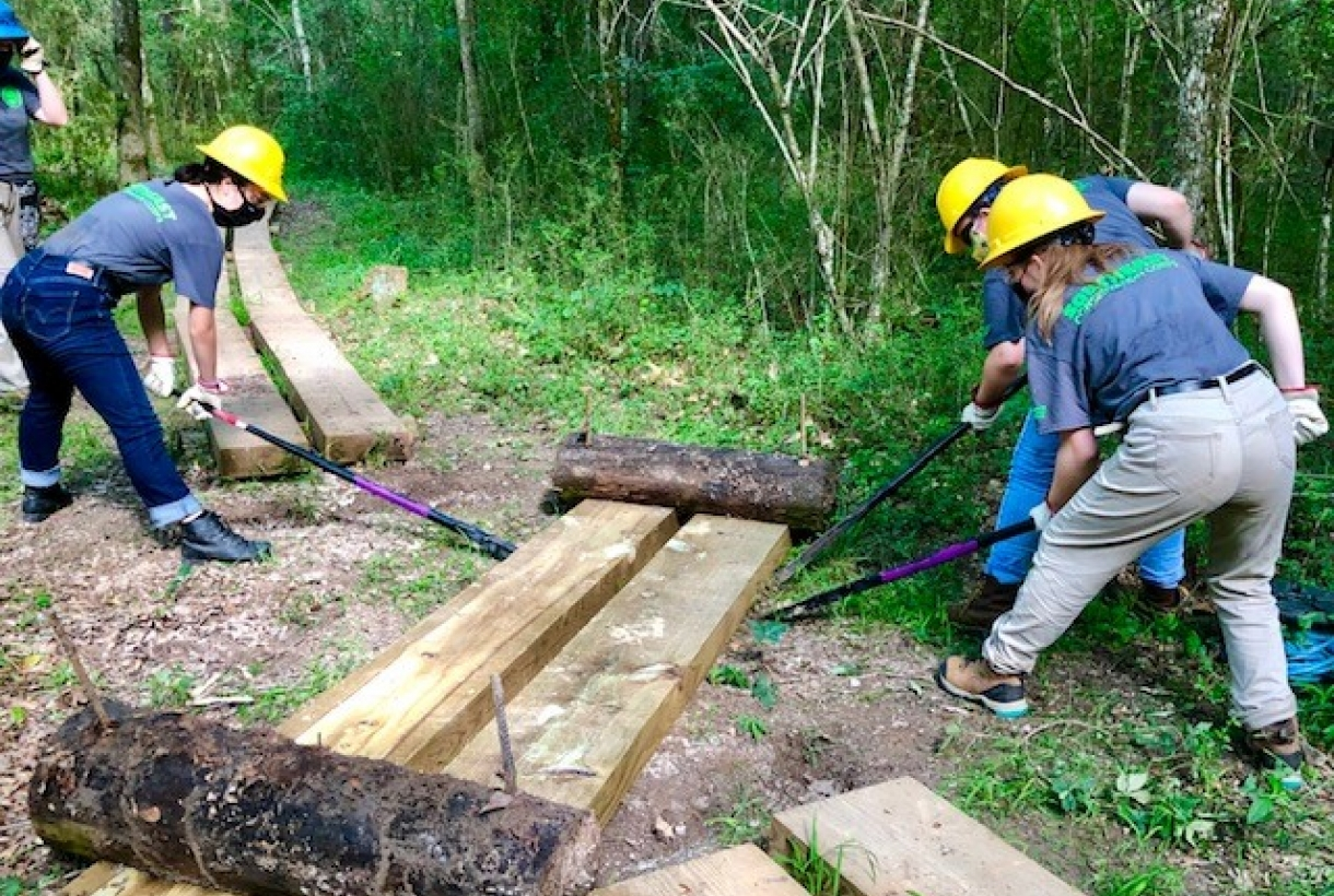 A group of women move large planks of wood. They wear hardhats and face masks
