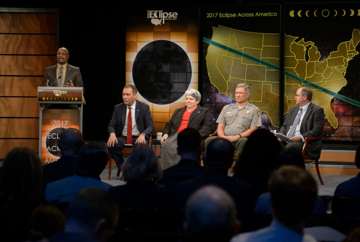 5 people on a panel about the Great American Solar Eclipse 2017