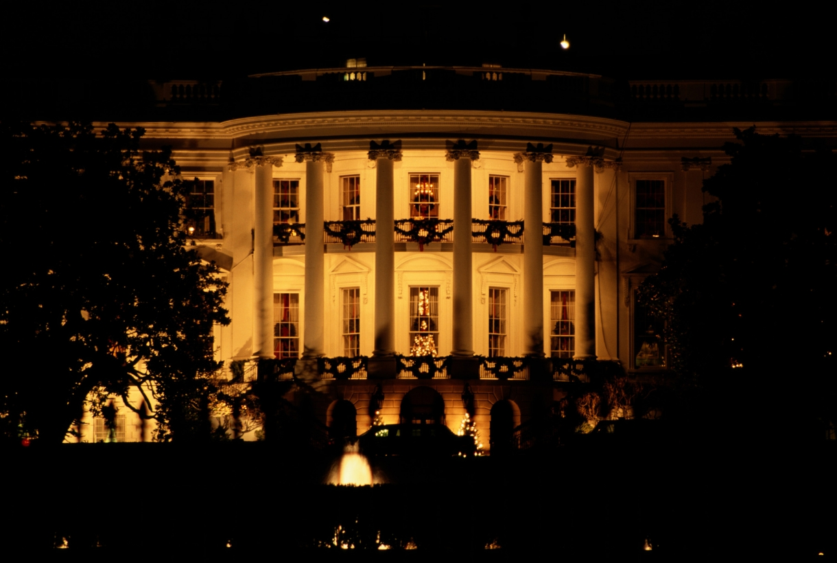 The White House lit up at night