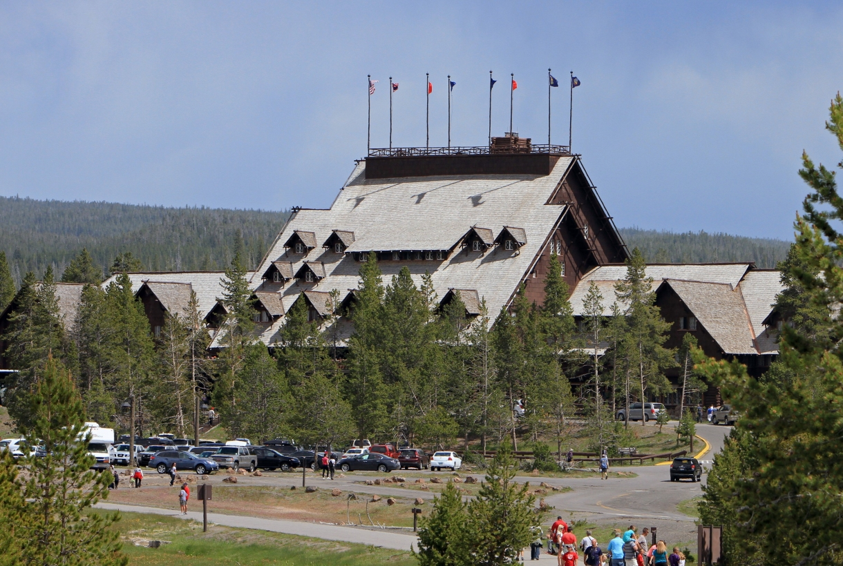 View of the grand shingled Old Faithful Inn