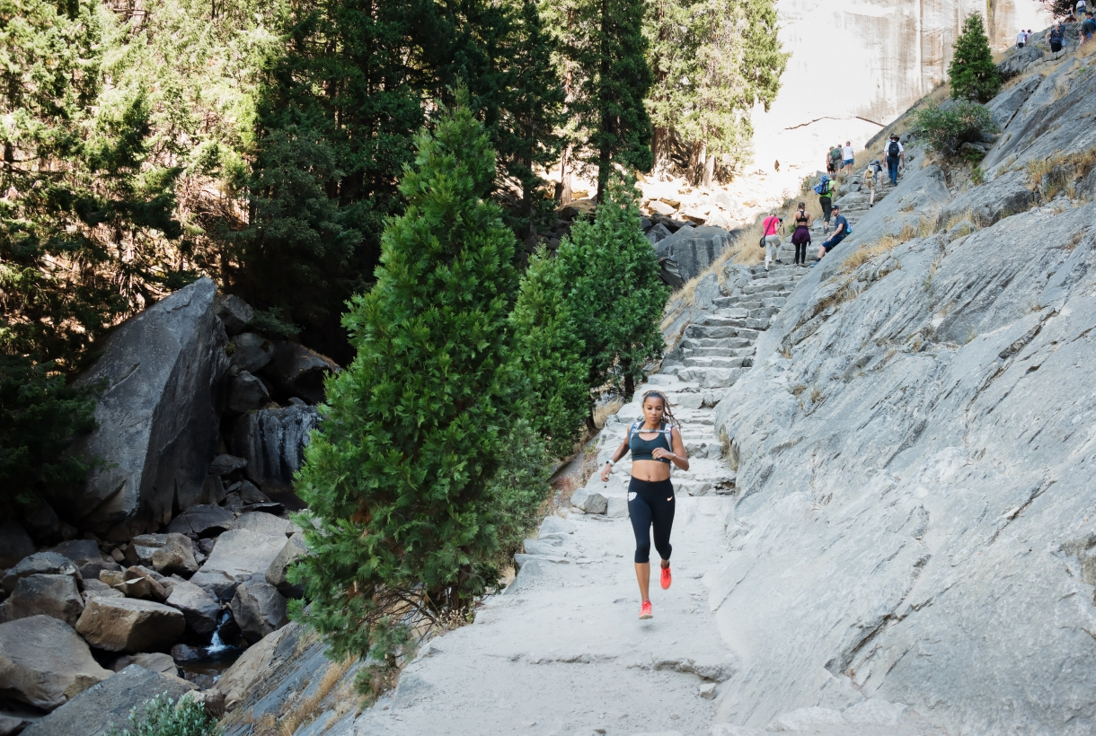#FYPx Participant Faith Briggs runs along Yosemite National Park's Vernal Fall Trail