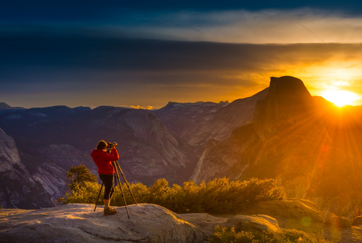 Photographer taking a photo in Yosemite National Park