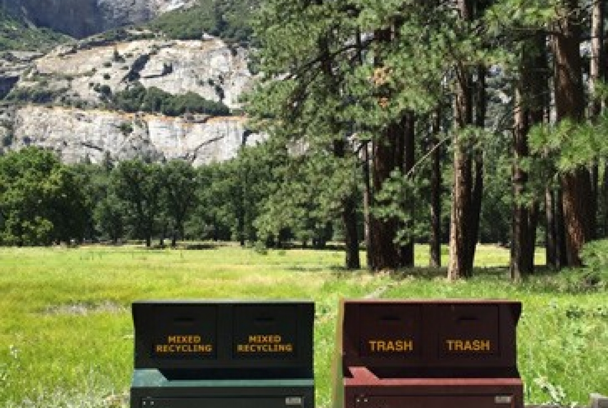 Recycling receptacles at the base of Yosemite