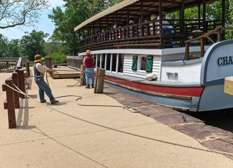 Site-seeing barge on C&O canal
