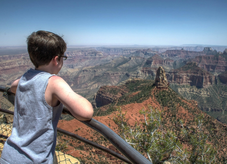 Boy taking in a view of the Grand Canyon from the south rim