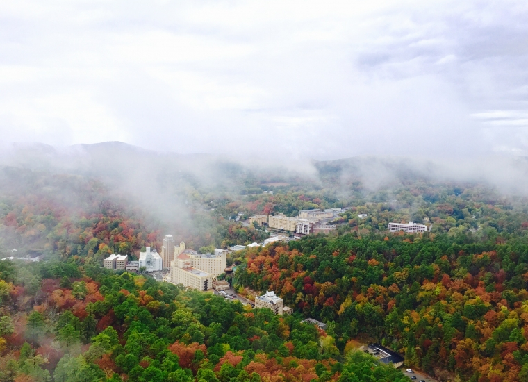 Aerial view of Hot Springs National Park