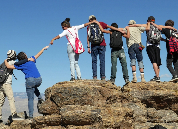 Group of teens participating in Latino Youth Summit at Saguaro National Park