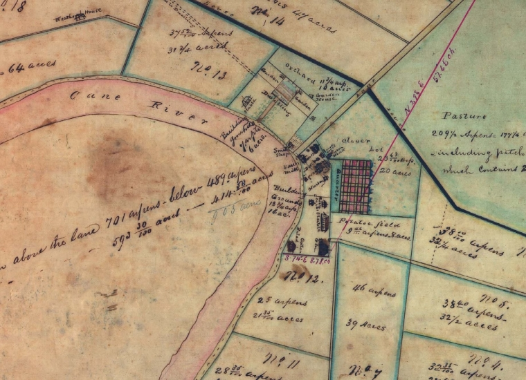Old map of the Magnolia Plantation at the Cane River Creole National Historic Park