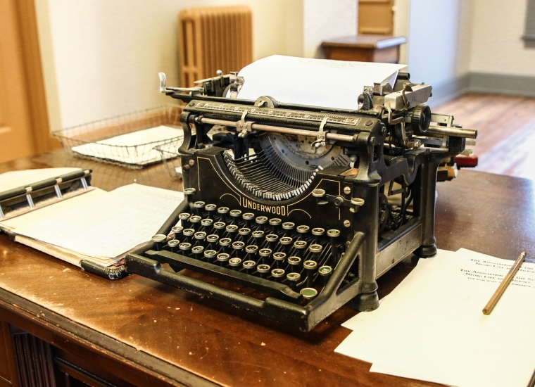 Black Underwood typewriter on the desk of Carter G. Woodson at Carter G. Woodson Home National Historic Site