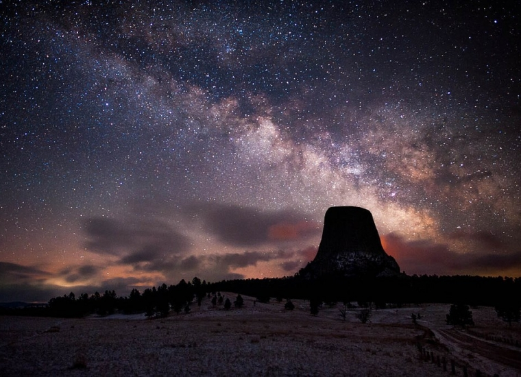 Colorful Milky Way over the dark Devils Tower National Monument