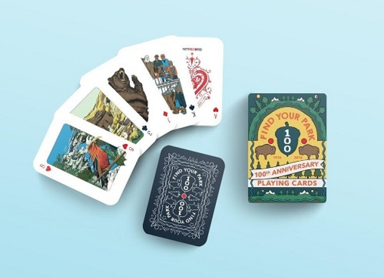 """National Park Service themed playing cards, """"Find Your Park 1916-2016, 100th anniversary playing cards"""""""
