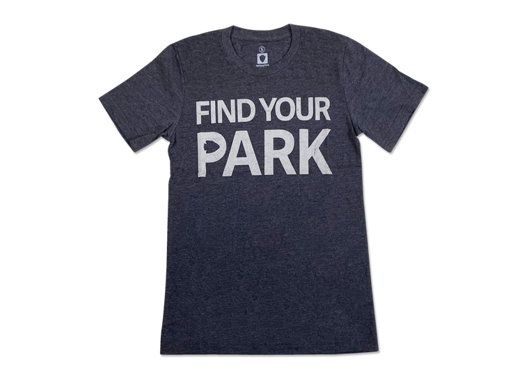 """Dark grey tshirt with """"Find Your Park"""" graphic across the front"""
