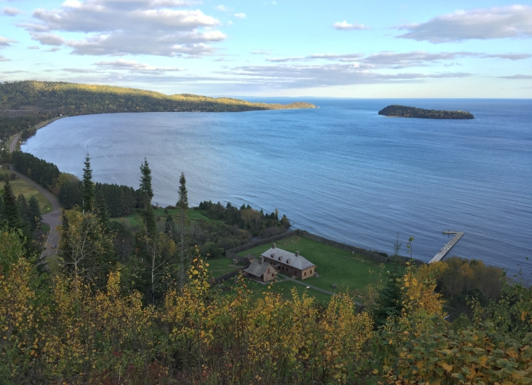 A view from above over the bay and Grand Portage National Monument