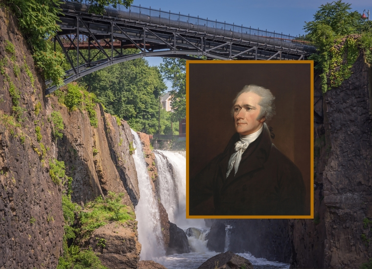 A steel bridge reaches across a waterfall; Alexander Hamilton's portrait by John Trumbull