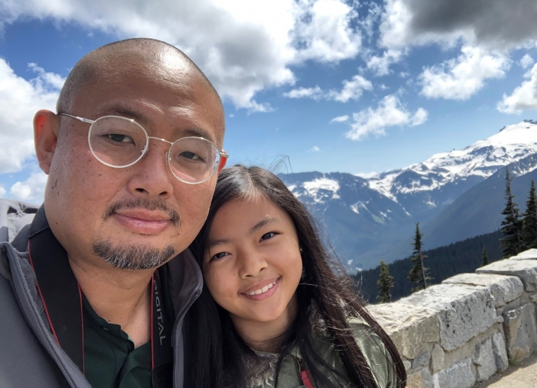 Kyle Funakoshi and his daughter Penelope at Mount Rainier National Park
