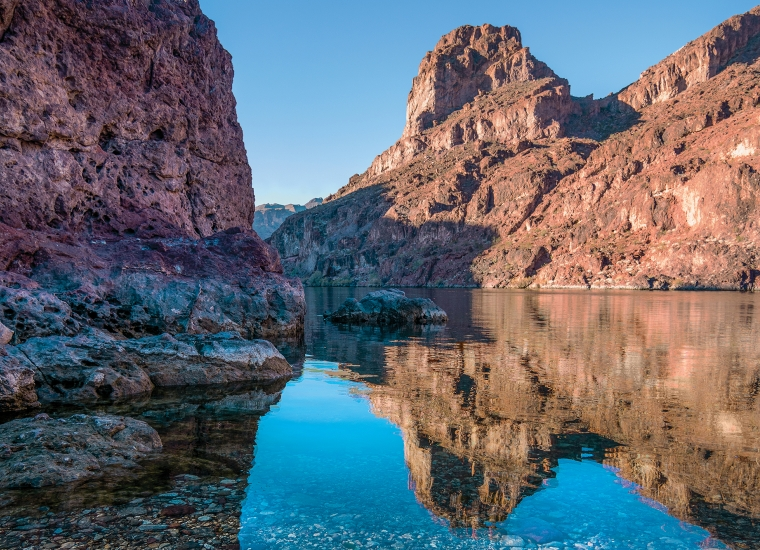Still waters in Black Canyon in Lake Mead National Recreation Area