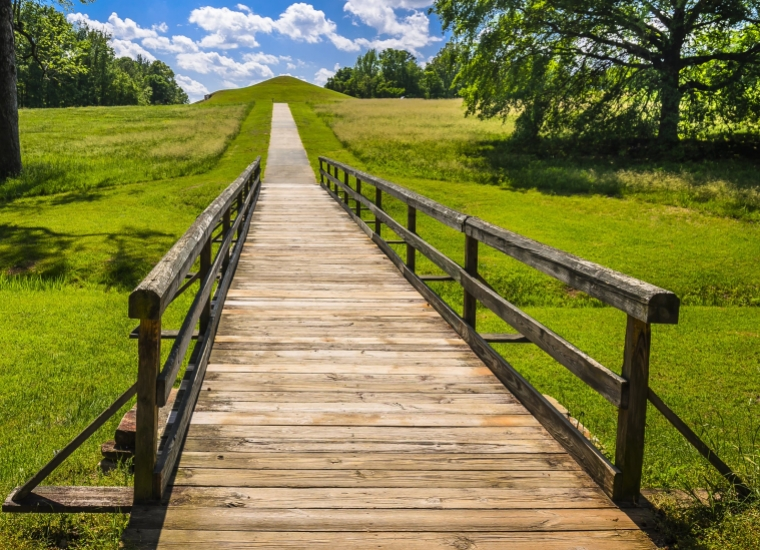Surrounded by vibrant green grass and trees, a wooden walkway extends toward the mounds in the distance at Ocmulgee National Monument.