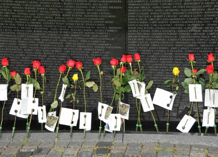 Individual red and yellow roses standing against the marble wall of the Vietnam Memorial at the National Mall & Memorial Parks