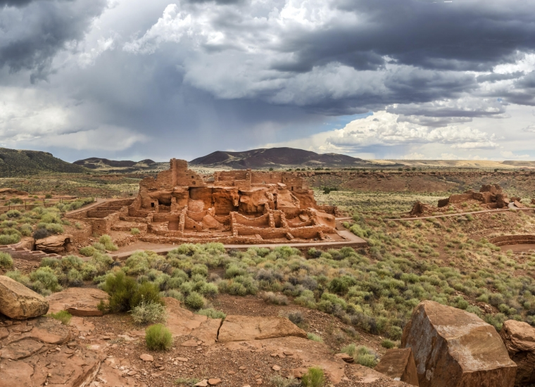 Panoramic view of the pueblos at Wupatki National Monument