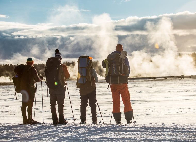 Four visitors, all wearing hats and backpacks, face away, looking at a misty geyser, with a line of pine trees in the background