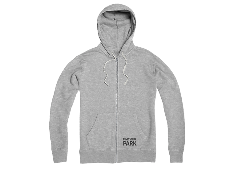 Find Your Park gray zip hoodie