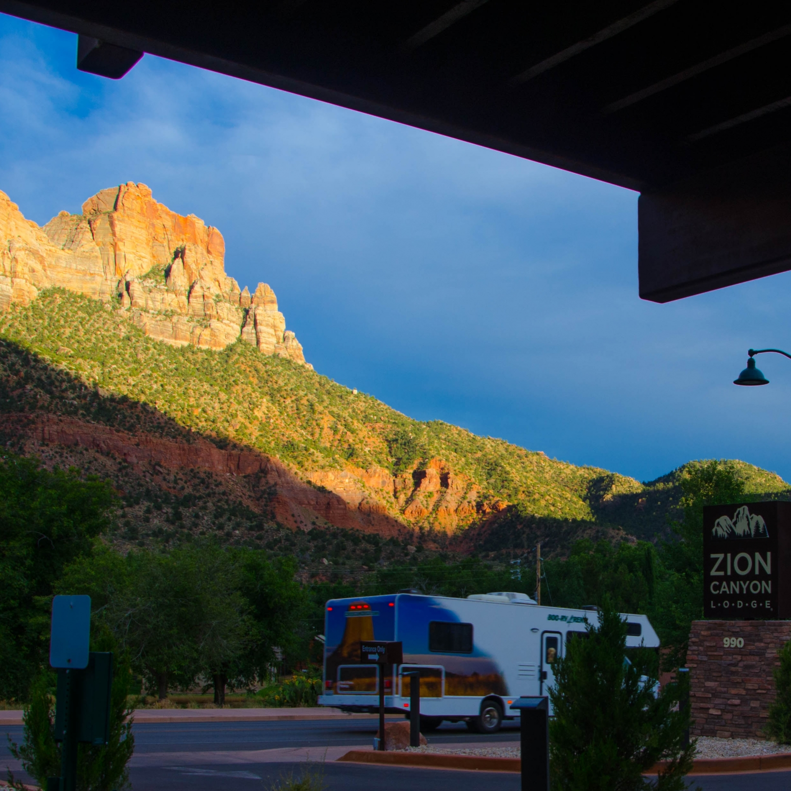 Evening at Springdale, UT, USA. The nearest town for Zion National Park.  Zion National Park is a southwest Utah nature preserve distinguished by Zion Canyon's steep red cliffs.