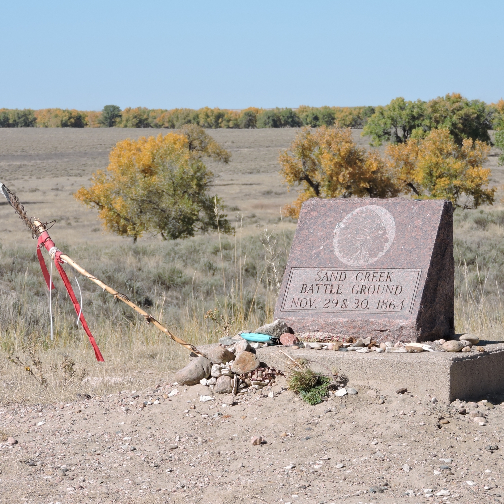 The Sand Creek Memorial Stone looking towards the massacre area.