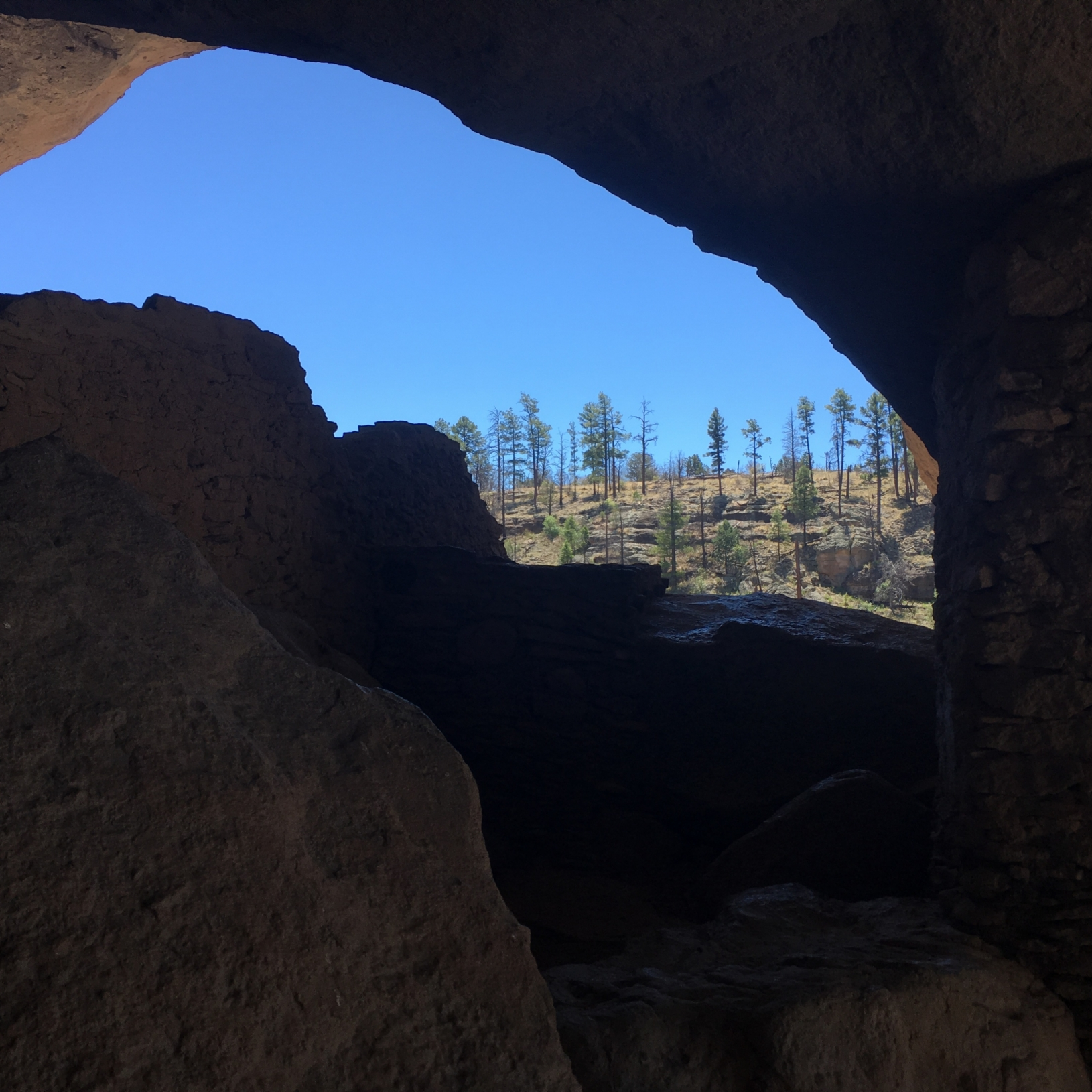 View looking out from the cliff dwellings at Gila