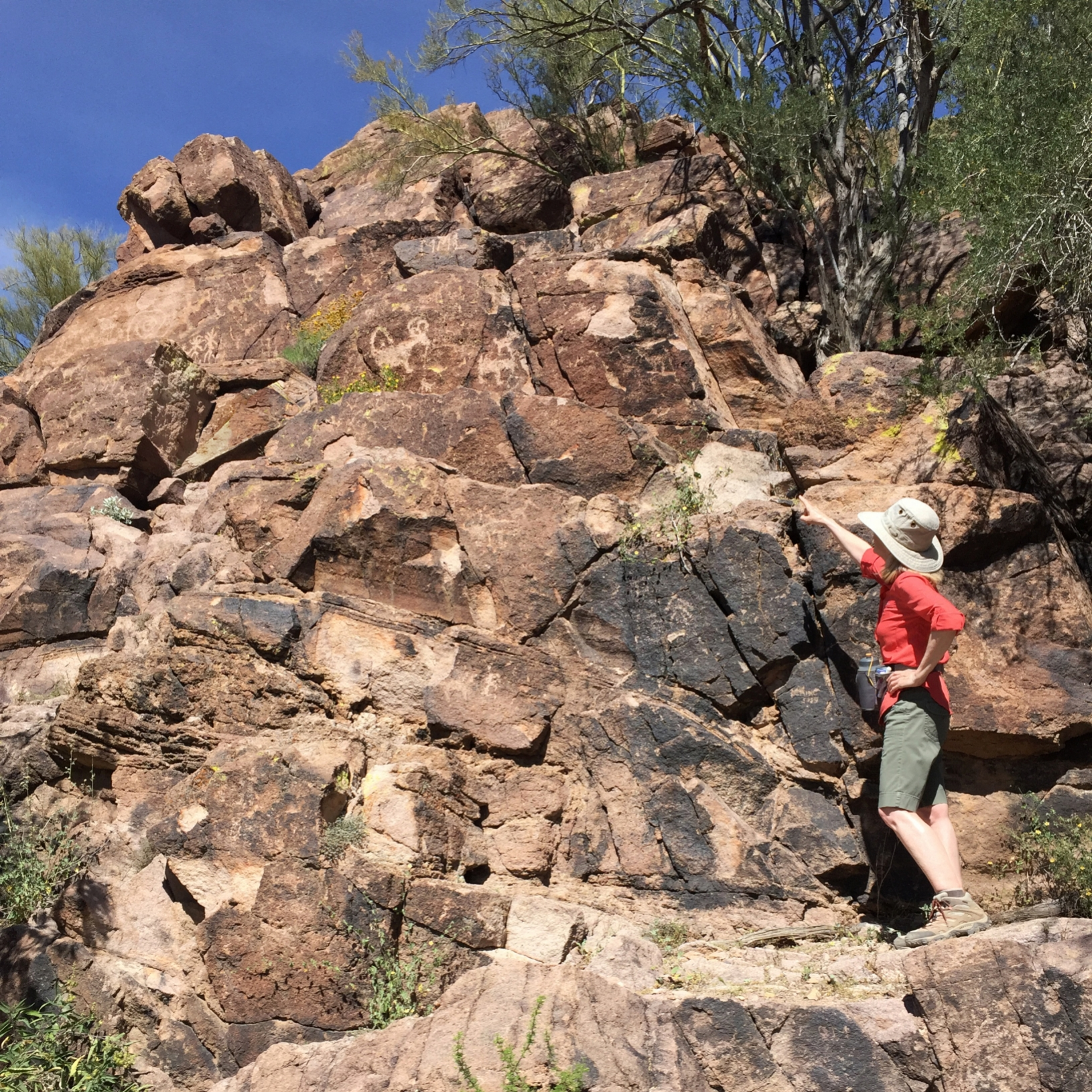 Hiker pointing to ancient petroglyphs etched on canyon walls near Tucson, AZ