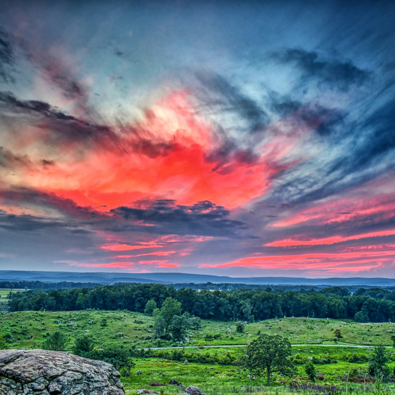 Another beautiful sunset take from Little Round Top.  The sky exploded with the bold, hot pinks, layered with the gray and blue coolness of dusk.