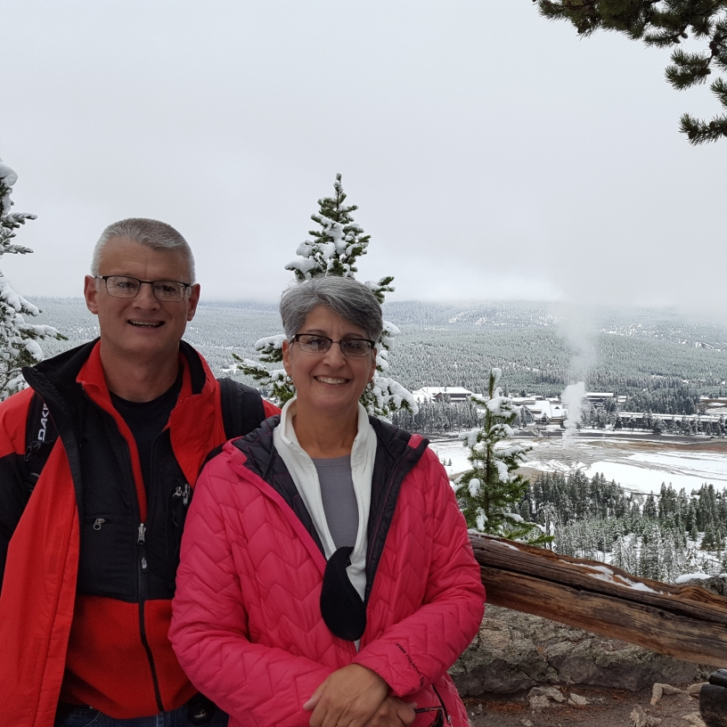 Overlooking Old Faithful Inn and Geyser in the snow