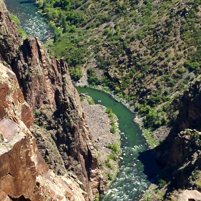Looking down at a river from a scenic overlook