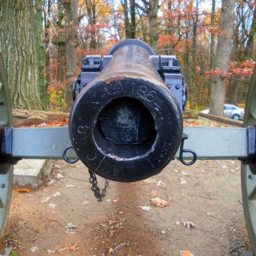 staring down the end of an historical Civil War cannon