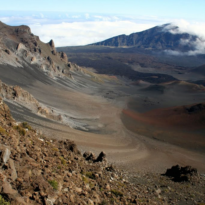Rugged terrain with the hint that lava once flowed there