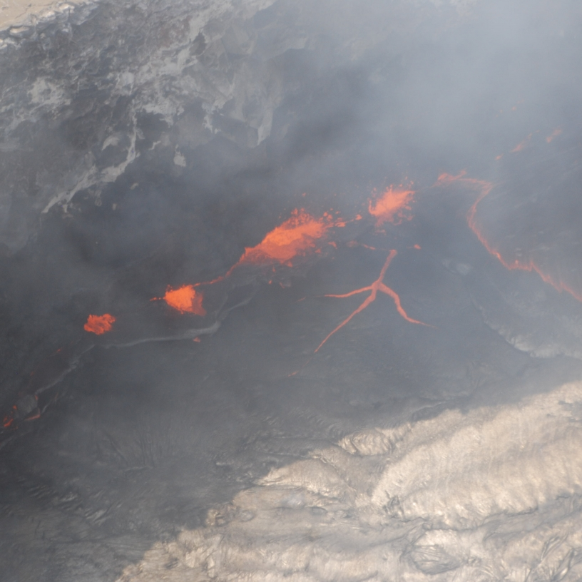 Startling lava images in the Pu'u' O'o cone  at Hawai'i Volcanoes National Park
