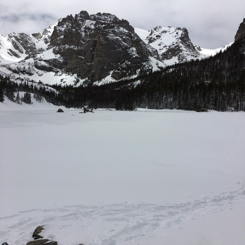 The Loch covered in ice in Rocky Mountain National Park
