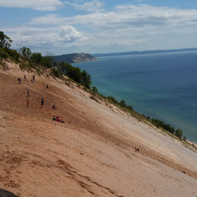 450 foot dune straight into the turquoise waters of Lake Michigan.