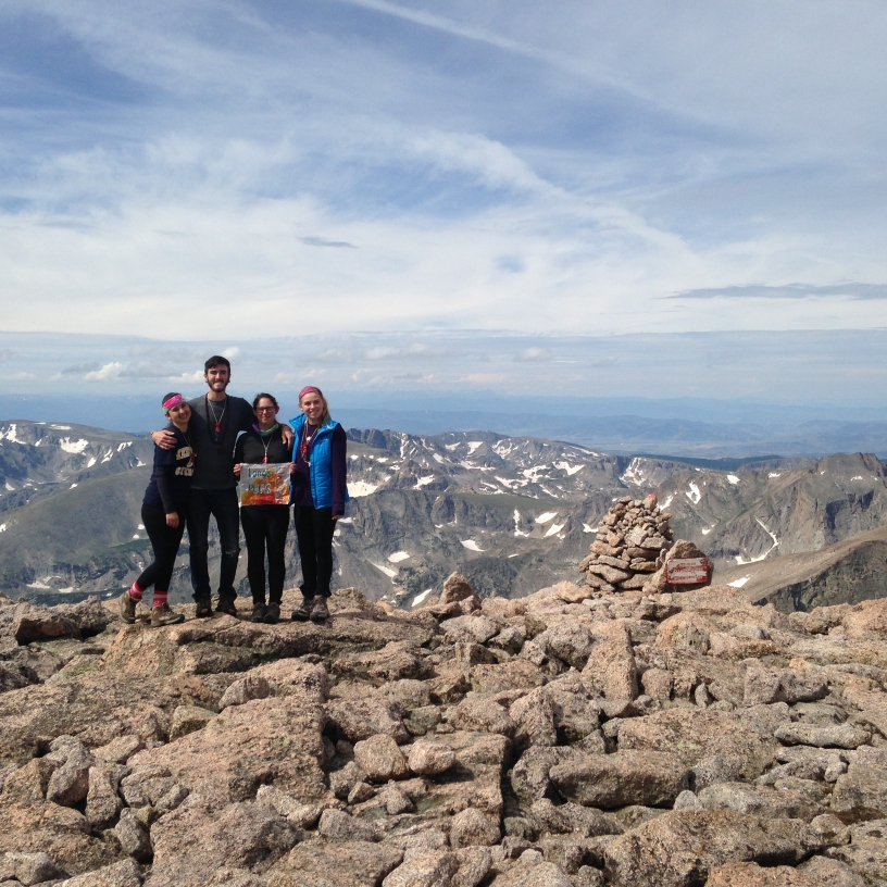 My friends and I at the summit of Longs Peak.