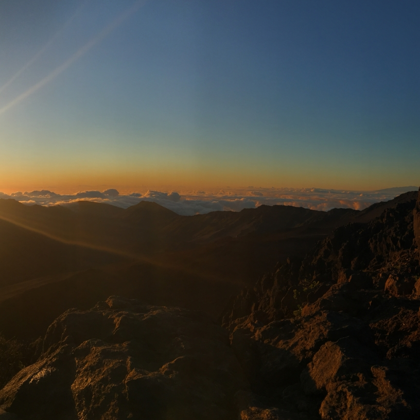 Rising sun at Haleakala National Park