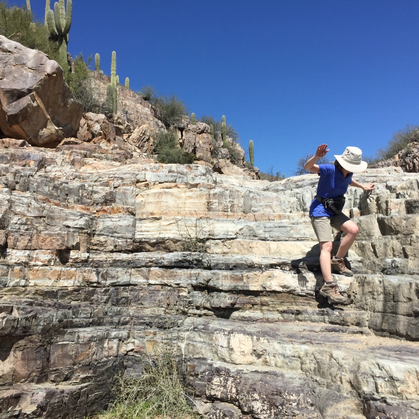 Climbing down a rocky, dry waterfall adorned with Saguaro cacti in Kings Canyon