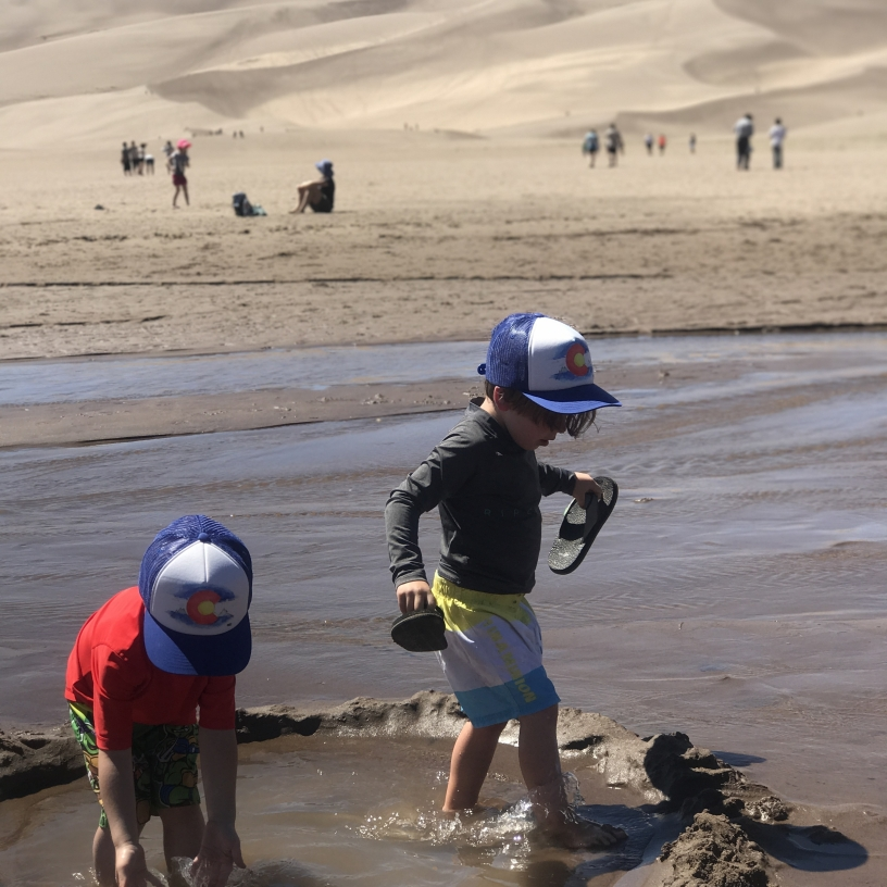 During spring (April through June), the Great Sand Dunes have a cool, river of water flowing through the base.
