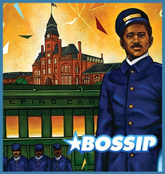 Bossip logo on top of the vintage-style illustrated Pullman poster by Joe Nelson