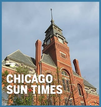 Chicago Sun-Times logo on top of a picture of Pullman National Monument's historic clocktower