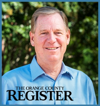 Will Shafroth in a blue shirt in front of greenery. On top of this image, the Orange County Register logo. The entire image is framed in a light blue box.