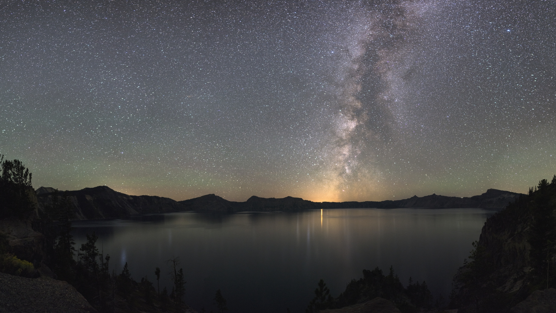 Milky Way at night over Crater Lake National Park